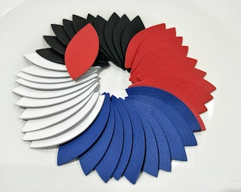 """Leather Leaves, 50 Pcs. (25 Pairs), 50mm. (2"""") 64mm. (2.5"""") 78mm. (3"""") Long, Five Colors, Leaves Die Cut, Leaves Shape, Earing Accessories."""