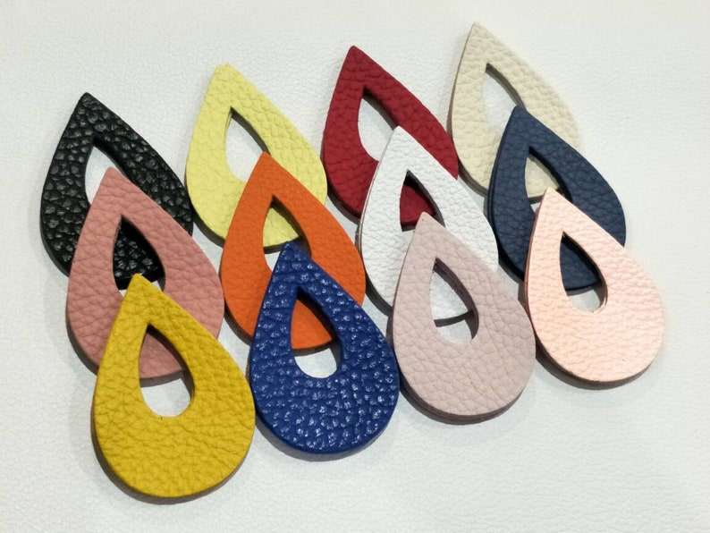 NEW Teardrops Shape Teardrops Die Cut Teardrops Cut Outs. 57mm.x 36mm. Mixed Colors 12 Pairs Textured Leather Teardrops Cut Outs