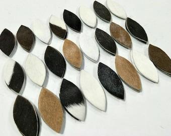 "NEW!  Hair on Cowhide Leather Leaves,50mm. (2"") Long, Mixed Colors, Leaves Die Cut, Leaves Shape, Leaves Style, Earrings Accessories."