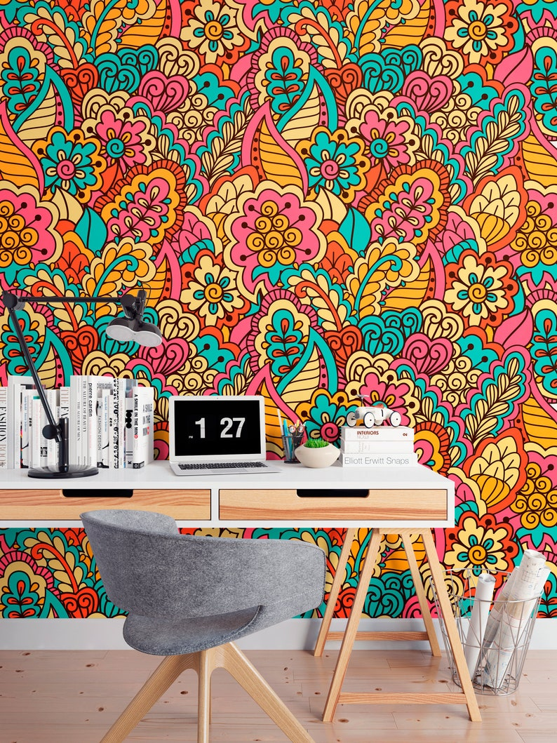 self adhesive wallpaper Ethnic wallpaper peel and stick wall mural temporary wallpaper wall sticker vintage pattern floral ornament