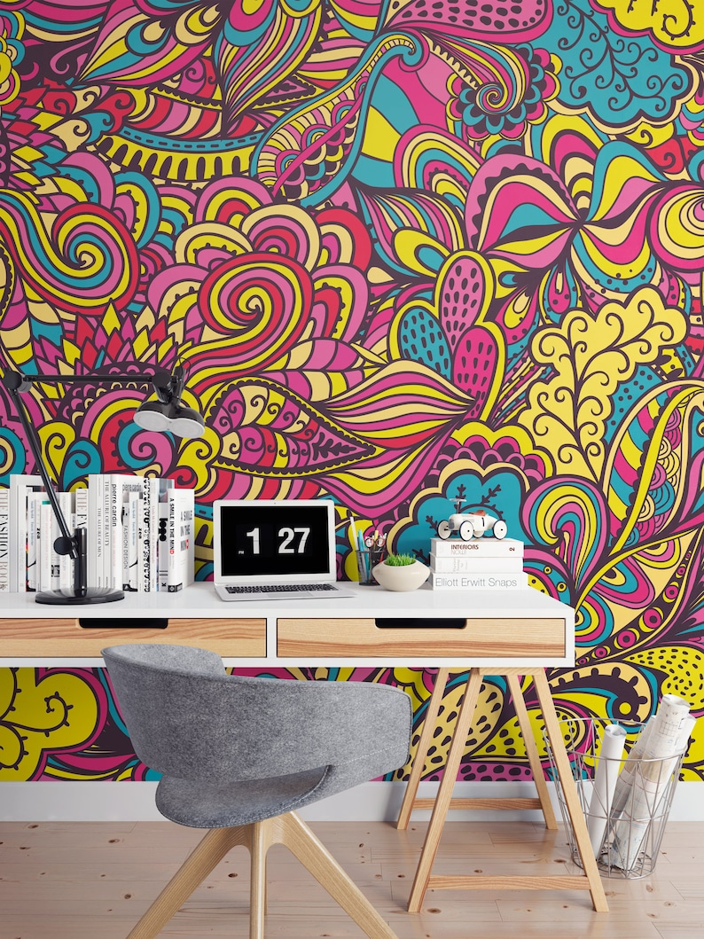 Home & Living Wall Decals & Murals Colorful Psychedelic Wall Decor ...
