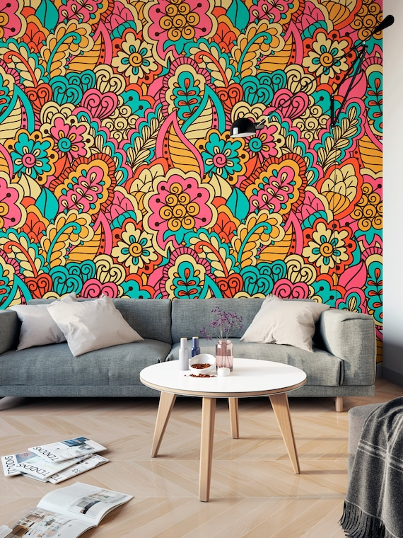Vintage Floral Ethnic Colorful Self Adhesive Wallpaper Etsy