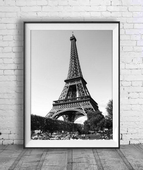 Black And White Eiffel Tower Art Paris Print Instant Download Etsy