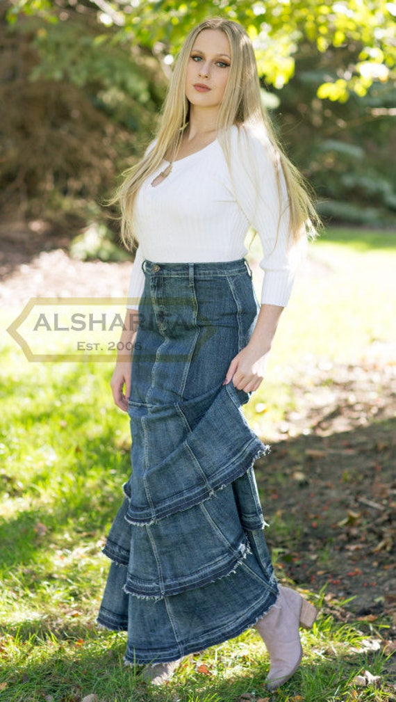Modest Skirts | DressedUpGirl.com |Western Long Denim Skirts Modest