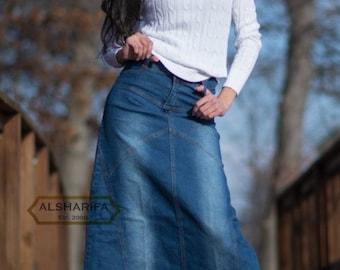 """41"""" Long Denim Skirt - Women's Modest Skirts - Jeans Fabric STYLE NP-102 - Bestseller"""