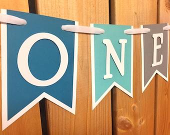 custom blue grey ONE high chair banner, first birthday, birthday banner, one banner, 1st birthday, 1st birthday banner, highchair banner