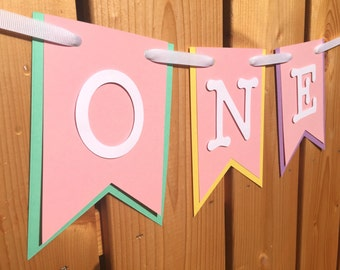 custom ONE high chair banner, first birthday, birthday banner, one banner, 1st birthday, 1st birthday banner, highchair banner,cake smash