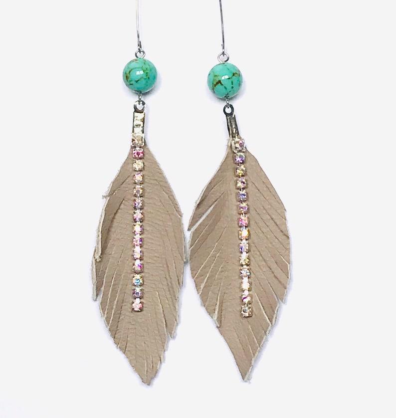 Long leather earrings Long feather earrings Bohemian Earrings Gemstone leather earrings Boho tribal earrings. Leather feather earrings