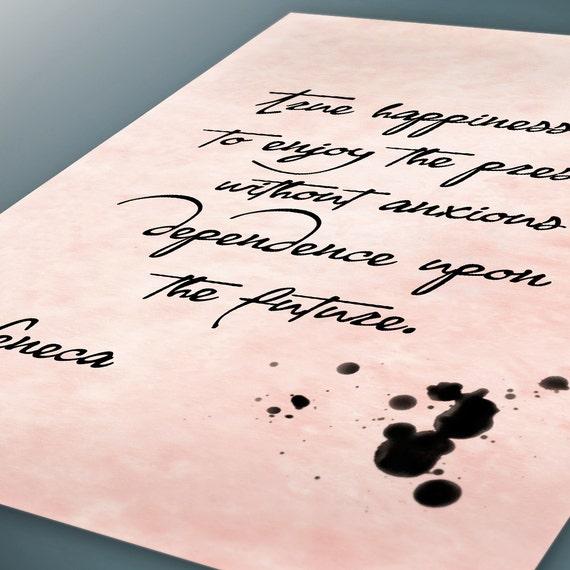 Wahres Glück Ist Genießen Die Gegenwart Seneca Zitate Digital Bedruckbar Berühmte Lateinische Phrasen Zitate Wandkunst Instant Download