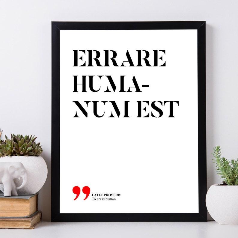 Errare Humanum Est Citazioni Latine Stampabili Proverbi Latini Filosofia Latina Arte Della Parete Stampabile Instant Download