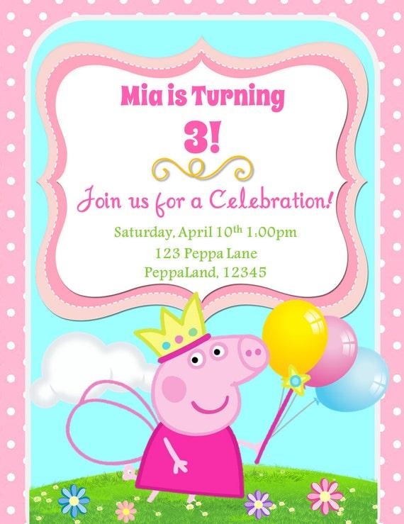 Invitacion De Cumpleanos Peppa Pig Etsy