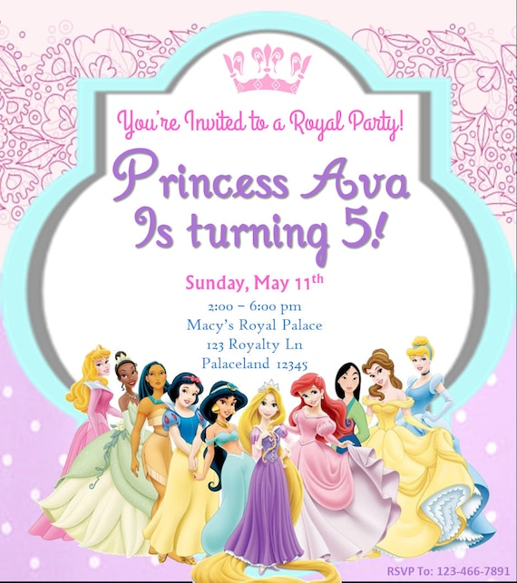 Invitation Anniversaire Princesse Disney