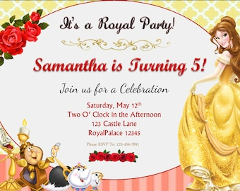 Beauty and the Beast Belle Birthday Invitation