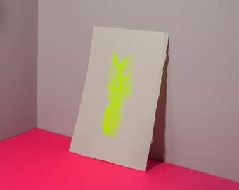 Screen Print – Neon Yellow Pineapple
