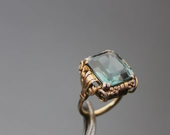 Synthetic Tourmaline Ring Art Deco. Silver 900 Yellow Gold Gilt.  Size 7 1/4