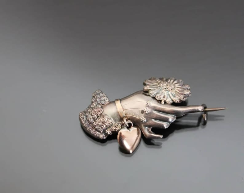 Embossed Hammered Aesthetic Antique Victorian Hand With Flower Articulated Brooch Sterling Silver 925 Repousse