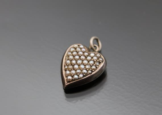 Antique Victorian Puffy Heart Locket. Pearl Pave C