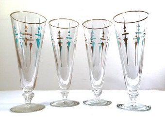 Federal Glass Mid-Century Compass Tall Pilsner Glasses (Set of 4)