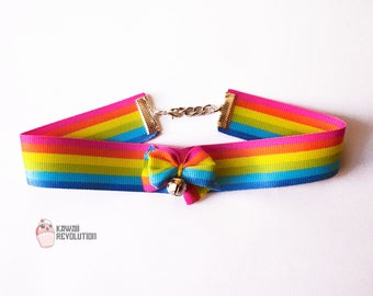 Pride Collar Rainbow LBGT gay flag necklace LGTB choker ddlg kitten play pet play cute lesbian homosexual transexual friendly