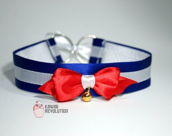 Sailor Moon Collar Jewelry Necklace Cosplay Costume Ddlg Kitten Play Pet Play Navy Sailor Blue Bell Red Bow Lolita Uniform