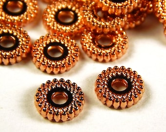 40 Pcs - 7x2mm Rose Gold Spacer Beads - Disc Spacers - Metal Spacer Beads - Jewelry Supplies