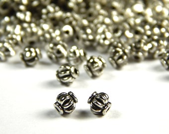 300PCS 4mm Silver Faceted Lantern Metal Spacer Bead