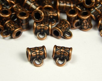 Charm Holder Bail with Hole for Cord 8x5mm Antique Copper Dotted Bail Copper Tone Bead Bail for Hanging Pendants 6 Pendant Bails