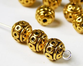 4mm Metal Ball Sphere Spacer Bead 25 pcs  GPY-374 Gold Plated Round Bead