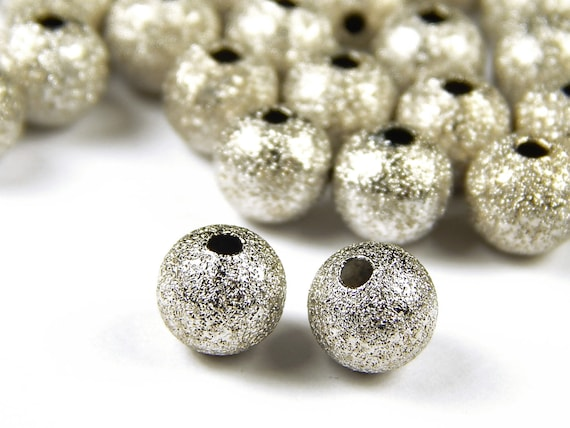 BRASS~ 100 x ROUND Metal STARDUST Spacer BEADS  3mm or 4mm  ~SILVER GOLD