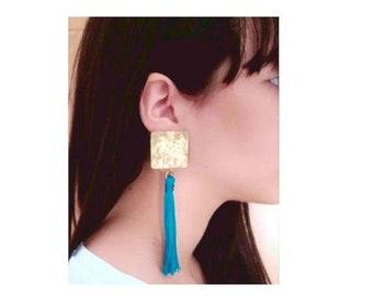 Tribal petrol blue tassel stud earrings,  blue fringe  statement earrings, large square studs