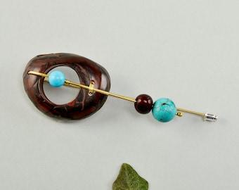 Tagua nut brooch, turquoise pin, large brooch, long brass pin, boho jewelry, chunky brooch, original jewelry, boho design, ethnic jewel