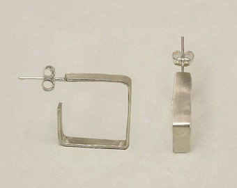 Sterling silver square hoop earrings, small square cuff hoops, minimalist 15 mm stud hoops