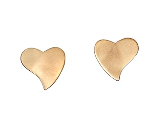 Gold heart stud earrings, bridesmaid earrings, bridal stud earrings, wedding gift, romantic jewelry, brass jewelry, gift for her