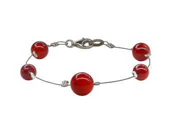 Red coral healing bracelet, energy yoga beaded  bracelet, April birthstone jewelry , gift under 15