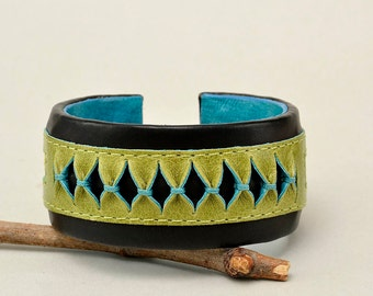 Genuine black leather bracelet, leather cuff bracelet, handmade bracelet, bohemian jewelry, wide cuff bracelet, adjustable bangle
