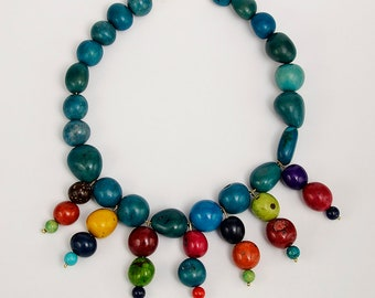 Statement  turquoise  beaded necklace jewelry, rainbow  tagua nut tribal  necklace, large beads chunky custom necklace