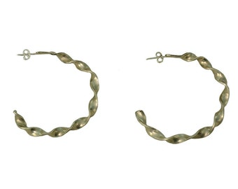 Silver twisted large hoops, big circle earrings, minimal jewelry, gold tone studs, custom jewelry, handmade hoops, modern women studs