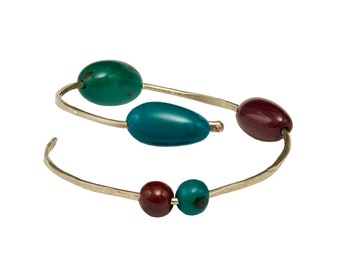 Silver wrap beaded cuff bracelet, organic tagua nut petrol blue red bangle , bohemian open adjustable bracelet
