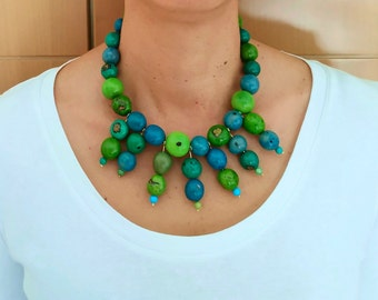 Turquoise green tribal choker necklace , bohemian chunky beaded necklace for her, tagua nut rustic necklace jewelry