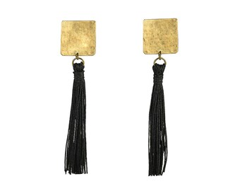 Black tassel earrings, black earrings, gold stud earrings, tribal earrings, long hammered stud, winter earrings, fringe earrings, black stud
