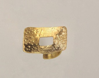Gold or silver large rectangle ring, wide open square ring, index or middle finger ring
