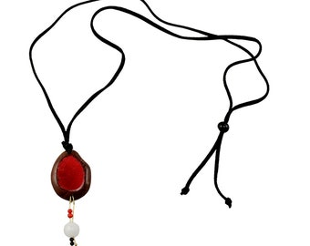 Red pendant boho long cord necklace, red black oval necklace, bohemian  botanical necklace gift under 15