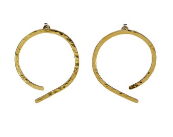 Thin large hoops, stud brass hoops, hammered earring, plain open hoop, simple hoop, minimal jewelry, present under 25, women gift