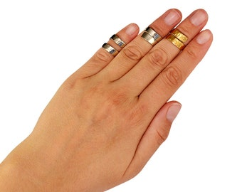 Gold or silver wide midi ring, wrap knuckle band ring, wrapped around pinky band ring