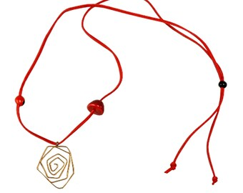 Boho pendant necklace, long necklace, bohemian necklace, red cord necklace, gold pendant, large pendant, spiral pendant, boho jewelry