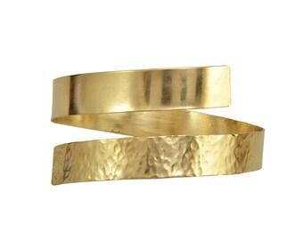 Gold open upper arm cuff  bracelet, Greek goddess arm band, wide wrap around hammered bracelet