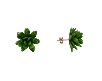 Green boho flower stud earrings,  green cluster stud earrings, sterling silver posts, seeds beaded jewelry
