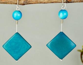 Turquoise dangle earrings, sterling silver earrings, tagua earrings, diamond shape earrings, rhombus earrings, boho earrings, long earrings