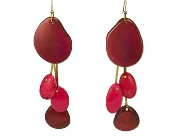 Garnet pink extra long chandelier tribal earrings, gold or silver custom tagua jewelry , extra large giant drop earrings