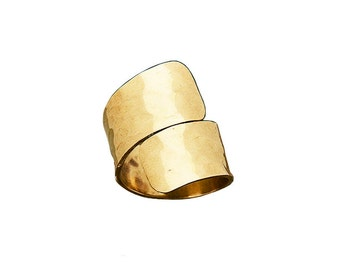Gold or silver wrapped around ring, wide little finger cuff band ring, unisex hammered spiral ring